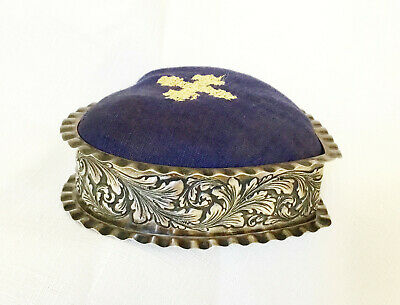 """Vintage Large Sterling Silver Gorham Repousse Heart Pin Cushion - 4-1/4"""""""