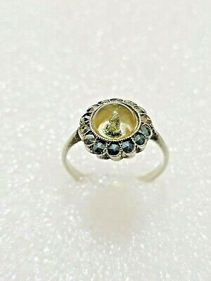 Gorgeous Antique Glass & Marcasite stones Ring Solid Silver 925 Size N~N1/2