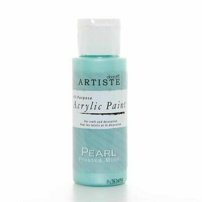 DoCrafts Artiste Pearl Frosted Mint Acrylic Craft Paint - 59ml / 2oz Bottle