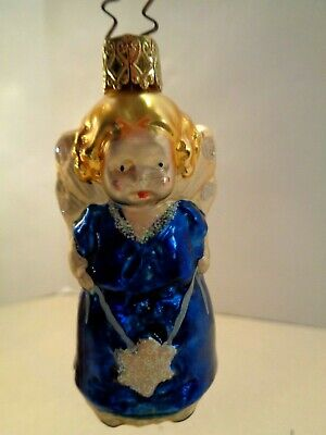 Inge Glas OWC 10007 Little Angel  with Horn German Glass Christmas Ornament