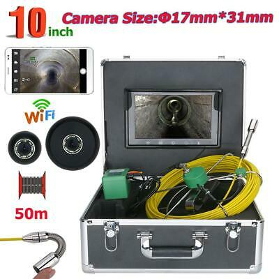 """10"""" Monitor WiFi Drain Pipe Sewer Inspection Video Camera 17mm 50M Waterproof"""
