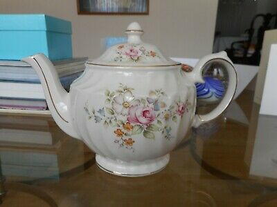 Windsor China Teapot Flowers Butterfly England Swirled Vintage