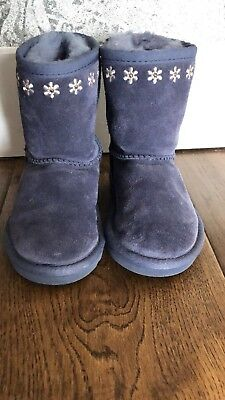 UGG Girls Blue Real Suede Fur Embroidered Boots Size UK 5 Eu 22.5 AUTHENTIC