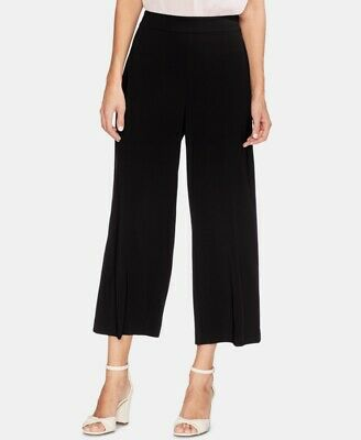 $188 Vince Camuto Women's Black High Rise Pull ON Cropped Wide Leg Pants Size 8