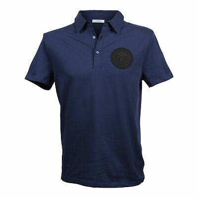 Versace Collection Men's Cotton Navy Blue Polo W/ Patch US 2XL NEW