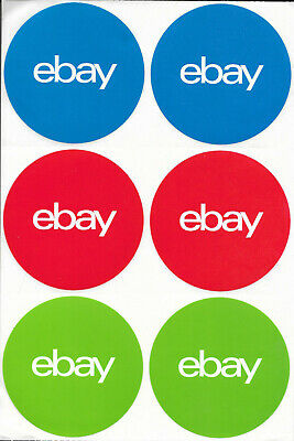 """100 Round eBay-Branded 3"""" x 3"""" 3-Color Stickers Blue Red Green"""