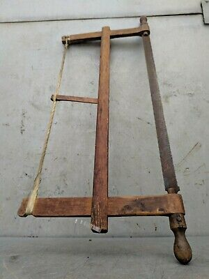 Antique Primitive Painted Wood Bow Carpenters Hand Saw Rustic Tool