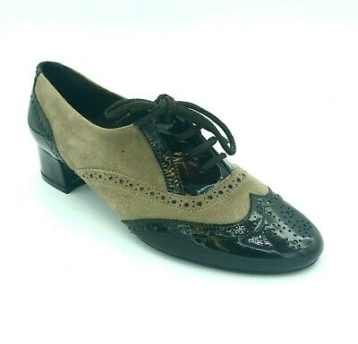 Cefalu Ladies Womens Low Heel Lace Up Brown Suede Patent Smart Formal Brogue
