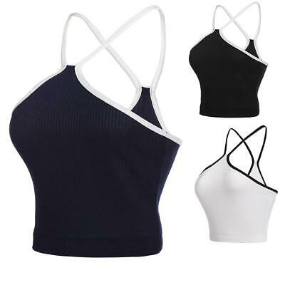 Women Casual Sleeveless Contrast Color Spaghetti Strap Crop Top H1PS 07