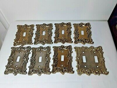 Set 8 MC Co vintage Brass Metal Light Switch double plate cover Set Rose Lot