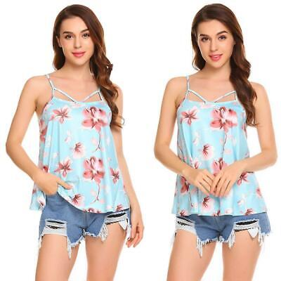 Women Casual Spaghetti Strap V Neck Sleeveless Printed Front Hole Cami H1PS 01