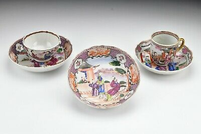 Chinese Famille Rose Mandarin Porcelain Cups and Saucers 18th Century Lot