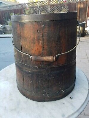 ANTIQUE reverse tapered cooper made WOODEN BUCKET with Bail Handle