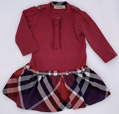 Burberry Infant Baby Girl Dress Check Pink 6 9 Months