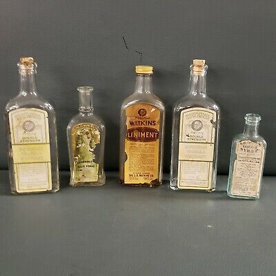 Vintage Paper Lable Medicine Bottles Lot