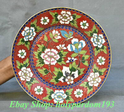 """10"""" Old Chinese Copper Cloisonne Palace Peony Flower Bird Plate Tray"""