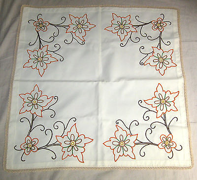 """Unused Embroidered Crewel Work Table Cover 26"""" x 26"""""""