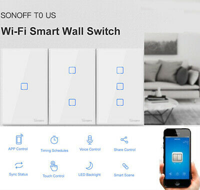 SONOFF Smart 1-3CH WiFi Wall Light Switch Timer Work With Google Home Alexa D5W6