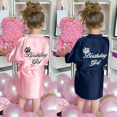 Baby Kids Silk Satin Kimono Robe Bathrobe Bandage Birthday Girls Print Sleepwear