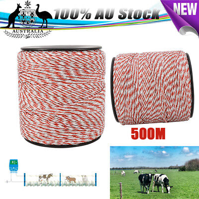 500m Polywire Roll Electric Fence Energiser Poly Rope Insulator Stainless Steel
