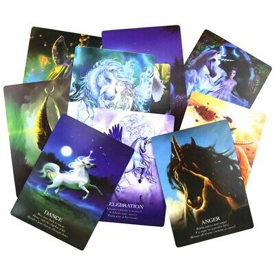 44 Unicorn Oracle Cards Deck Mysterious Tarot Cards Divination Fate Game Lizzj