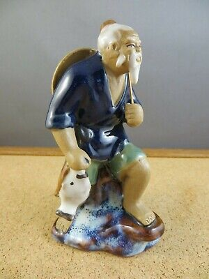 Vintage Antique Chinese Mudman Figurine Fisher Man Walking Fishing Pole  Fish
