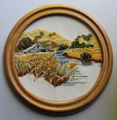 """Sunset """"Summer Wheat Fields"""" Barn River Cattails Crewel Emb Completed Finished"""