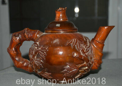 """9.2"""" Marked China Old Ox Horn Dynasty Hand Carved Bamboo Handle Teapot Teakettle"""