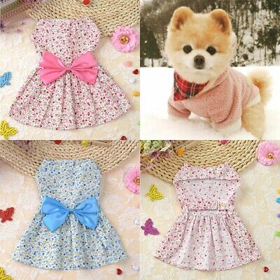 Pet Small Dog Cat Bow Skirt Puppy Dress Costume Apparel Coat Vest Clothing UK