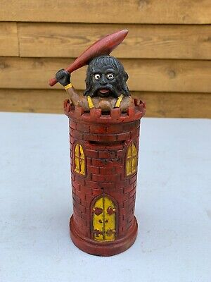 Collectable Cast Iron Money Box; Castle With Giant; Decorative