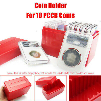 1PC 10 Coin Capacity Holder Case Slabs Plastic Storage Box Fit For PCGS NGC Red