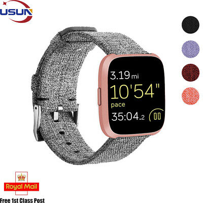 Original Replace Wristband For Fitbit Versa Nylon Strap Woven Fabric Bracelet UK
