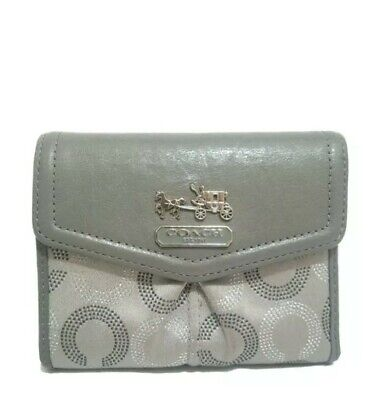 COACH Madison Dotted Signature Op Art Gray Wallet