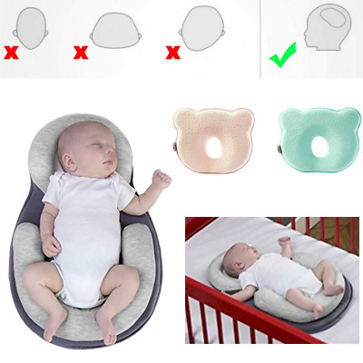 Newborn Baby Cot Pillow Prevent Flat Head Anti Roll Pod Cushion Sleeping Support