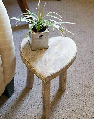 Small Wooden Heart Stool / Side Table Sass and Belle Mango Shabby Chic