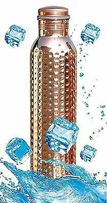 Pure Copper Water Bottle Flask Leakproof Hammered Design Health 1Litre Free/S