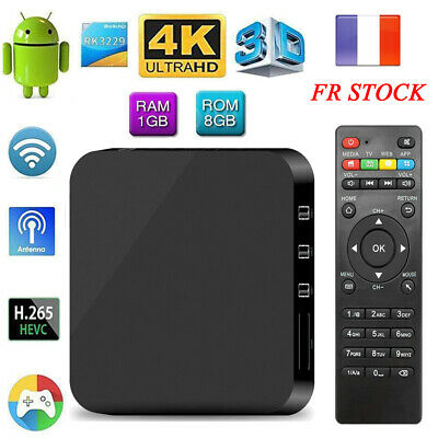 MXQ 4K Smart Android TV Box Android 6.0 RK3229 Quad Core 1Go/8Go UHD Mini PC FR