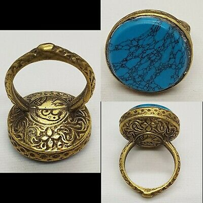 Stunning Egyptian Super Blue Turquoise Stone Gold Gulied Medieval Beautiful Ring