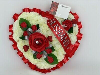 Artificial  Funeral Flowers heart Wreath Memorial Grave Tribute Dad red mothers