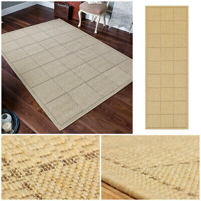 Modern Flat Weave Door Mat Sisal Effect Checked Small Large Clearance Sale