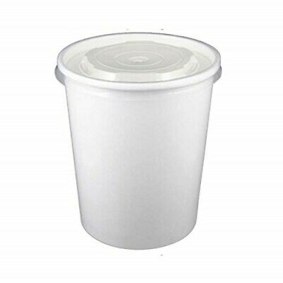 32oz White Soup Container With Matching Plastic Lids, Containers with Lids Combo