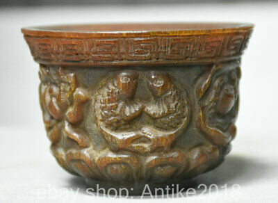 "4"" Old Chinese Ox Horn Dynasty Hand Carved Lotus Flower Fish Pot Cup Bowl"