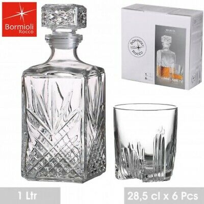 6 x 280ML GLASS WHISKEY WINE TUMBLERS & SQUARE GLASS DECANTER BOTTLE BOXED SET