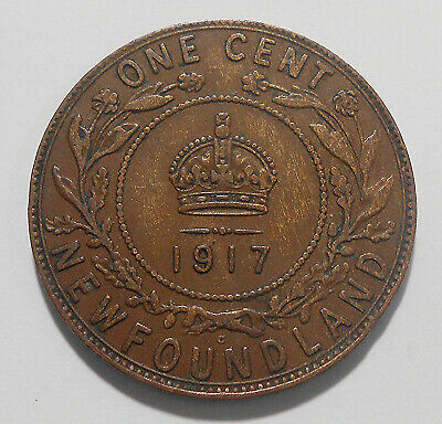 1917c Newfoundland Large Cent F-VF ** Attractive Early King George V Nfld. Penny