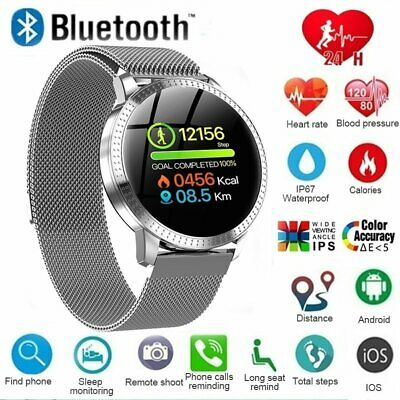 Smart Watch Fitness Tracker Blood Pressure Heart Rate Tempered Mirror Waterproof