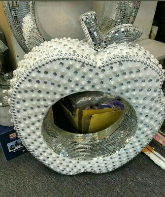Apple Figure Stand Large Silver Mirrored Modern Flower Sparkle Romany Mosaic