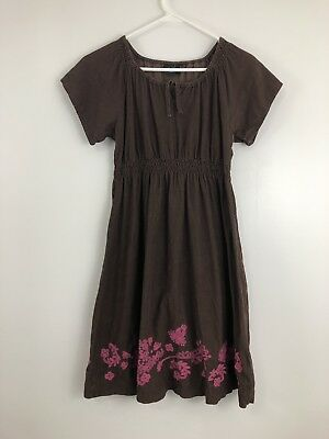 Mini Boden Girls US 12 13, UK 11 12 Play Dress Brown Corduroy Pink Embroidery