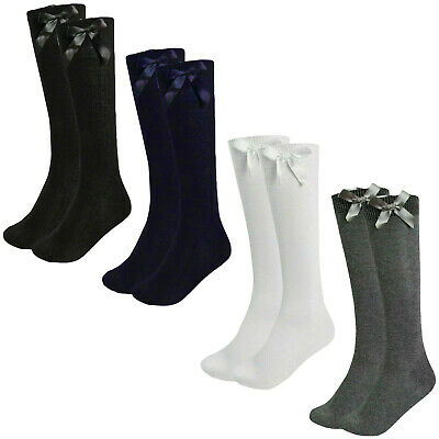 Girls Knee High Socks Bow Children Back To School Long Cotton Rich Plain Uniform