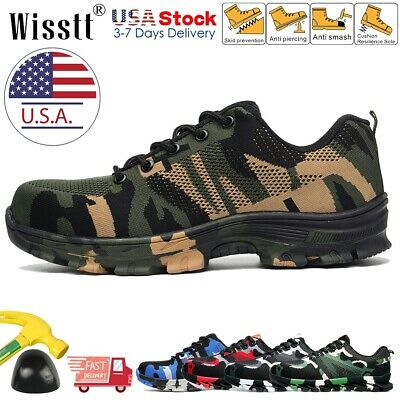 Men's Work Safety Shoes Indestructible Steel Toe Boots Breathable Lightweight US