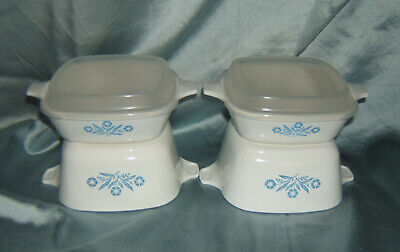 4 Corning Ware Cornflower Blue Petite Pans Two P-43-B  & Two P-41-B with 2 Lids